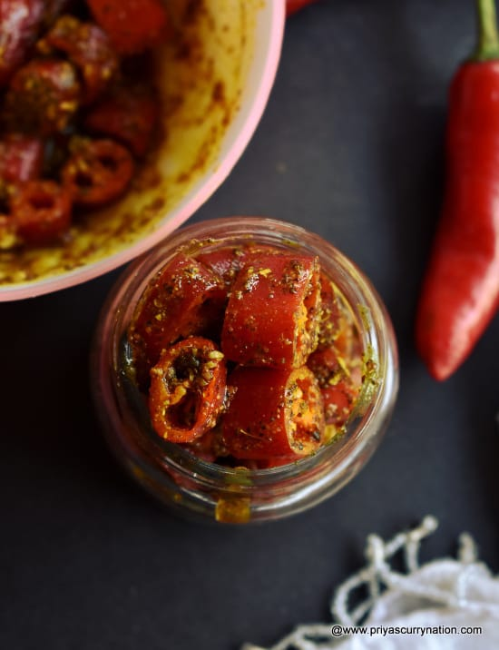instant red chili pickle recipe